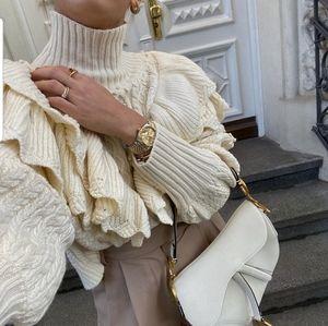 Zara ruffled cable knit sweater